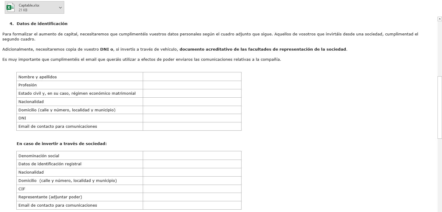 Part of the email (in Spanish) sent to our investors