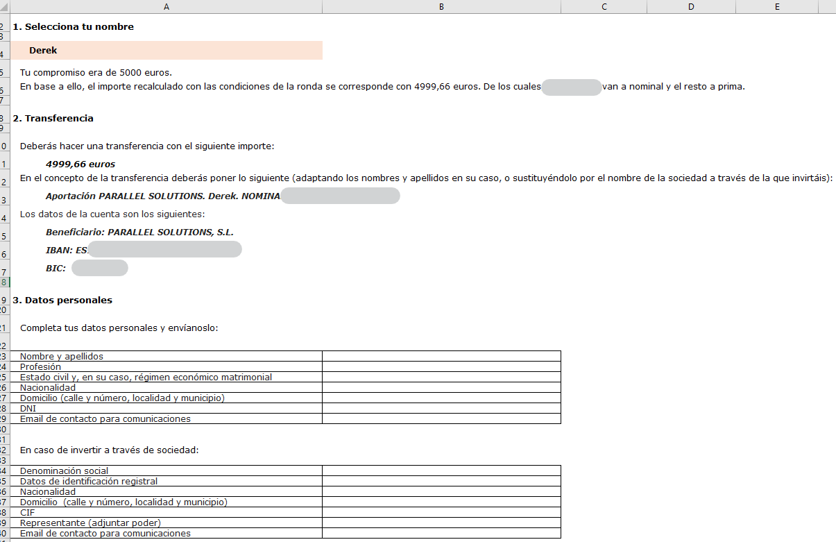 The Excel file with the field to fill in their personal information